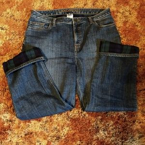 Flannel Lined Lands' End Jeans Womens 14 Outdoors
